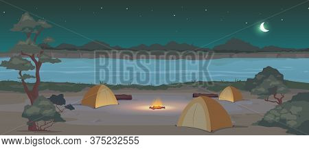 Campground At Night Flat Color Vector Illustration. Recreation In Nature. Summertime Active Leisure.