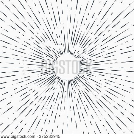 Sun Burst, Star Burst Sunshine. Radiating From The Center Of Thin Beams, Lines