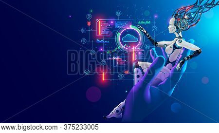 Beauty Robot Woman Sitting In Hand Human, Analyze Data On Hud Interface In Cyberspace. Cyborg With A
