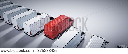 Red commercial van and fleet of white trucks. Transport, shipping industry. 3D illustration