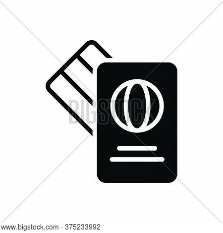 Black Solid Icon For Visa Mastercard Card Immigration Citizenship Foreign Passport