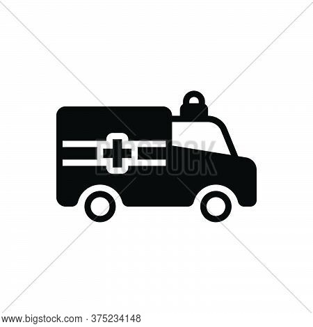 Black Solid Icon For Ambulance Emergencies Exigency Necessity Rescue Transportation Paramedic Medica