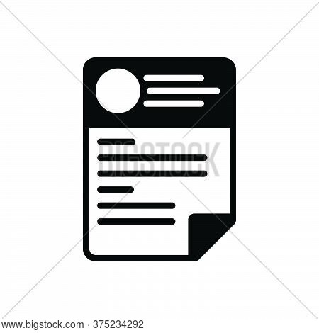 Black Solid Icon For Cv Resume Template Paper Biography Biodata