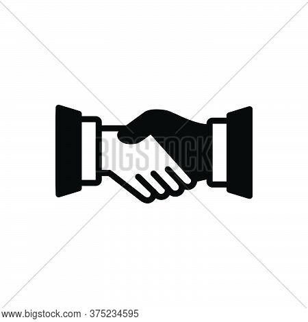 Black Solid Icon For Handshake Partnership Collaboration Complicity Copartnership Teamwork Agreement