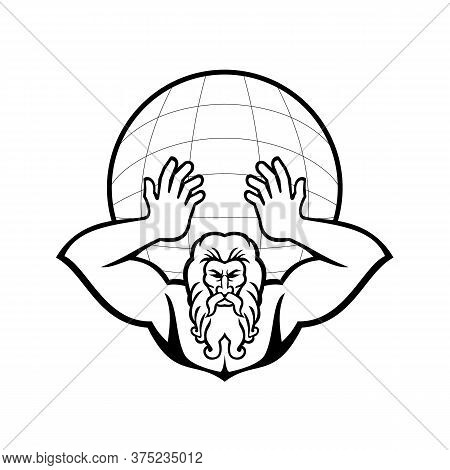 Black And White Illustration Of Head Of Atlas, A Titan In Greek God Mythology Holding Up The World O