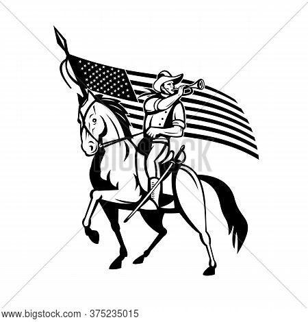 Retro Style Illustration Of A United States Cavalry, The Mounted Force Of The United States Of Ameri