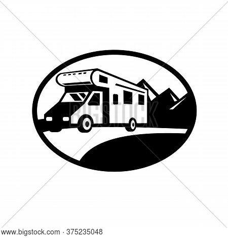 Black And White Retro Style Illustration Of A Campervan, Motorhome Or Caravan Van  Travelling On Roa
