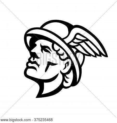 Black And White Mascot Illustration Of Head Of Hermes, Greek God In Religion And Mythology With Wing