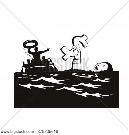 Retro Style Illustration Of A Businessman Or Drowning In Debt Holding On To Dollar Money Sign While
