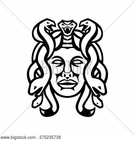 Black And White Illustration Of Head Of Medusa, In Greek Mythology, A Monster, A Gorgon, Described A