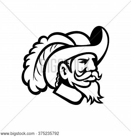 Black And White Illustration Of Head Of A Musketeer Or Cavalier Wearing A Cavalier Hat That  Is Wide