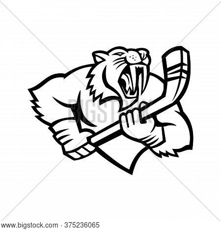 Black And White Mascot Illustration Of Bust Of A Saber-toothed Cat Or Smilodon, With Ice Hockey Stic