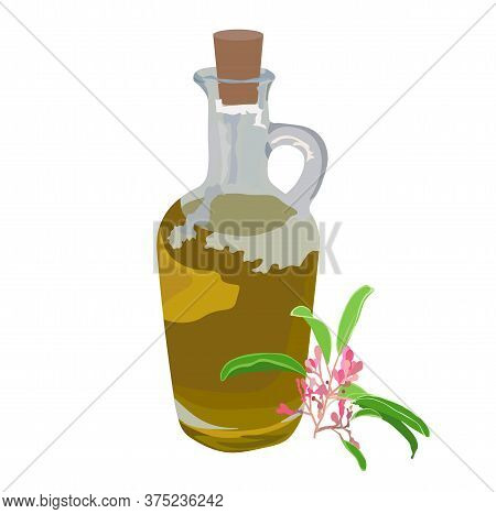 Vector Stock Illustration Of Aroma Oil. Glass Bottle With Yellow Body Massage Cream. Oil With A Spri
