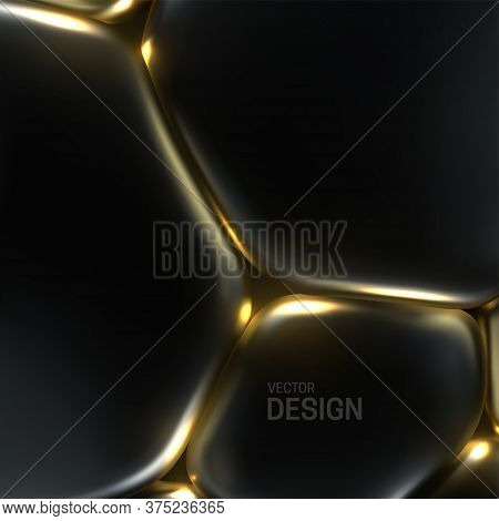 Black And Golden Soft Bubbles. Abstract Background. Vector 3d Illustration. Cell Membrane Tension Ef