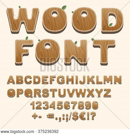 Set Of Natural Style Alphabet Letters, Numbers, Punctuation And Sans Serif Characters. Wooden Font I