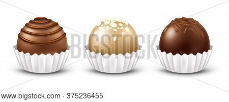 3d Realistic Vector Chocolate Candies With Different Toppings, Isolated On White Background. Dark, M