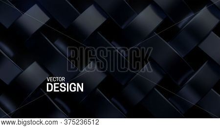 Black Weave Pattern. Vector 3d Realistic Illustration. Luxury Woven Texture. Metallic Weave Ribbons.