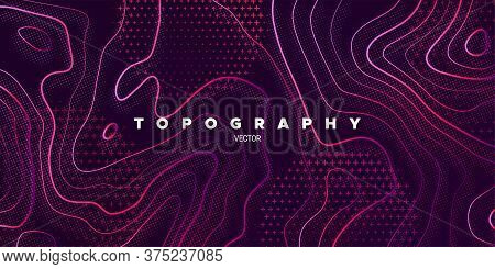 Topography Relief. Abstract Memphis Background. Vector Minimal Illustration. Liquid Gradients. Outli