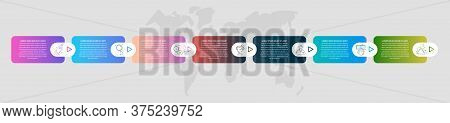Timeline Creative Design 3D Infographics Template. Business Vector Illustration With 7 Options, Arro