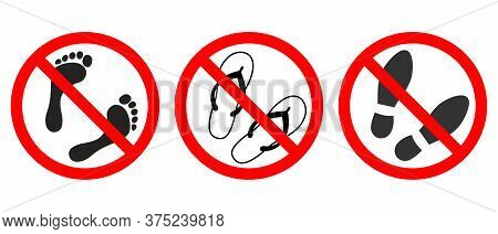 Do Not Walk. Not Allowed Passage. Set Of Sign Isolated On White Background. Vector Illustration