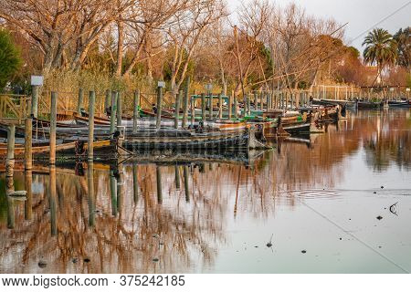 Albufera Nature Reserve With Picturesque Fishing Boats In Catarroja