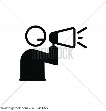 Black Solid Icon For Announcement Megaphone Broadcasting Advertising Promote Announce