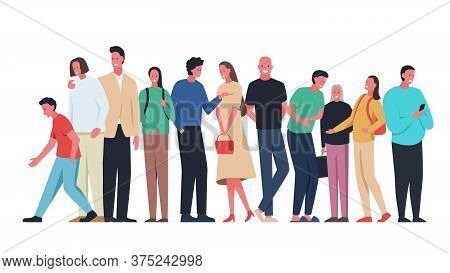 Group Of Different People Standing Flat Vector Illustration. Men, Women And Children Standing Wearin