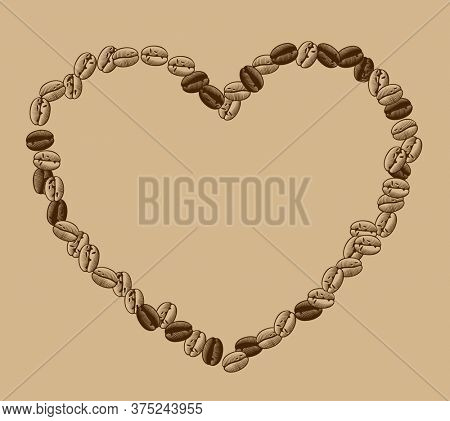 Heart shaped frame of coffee beans. Vintage engraving black and white stylized drawing