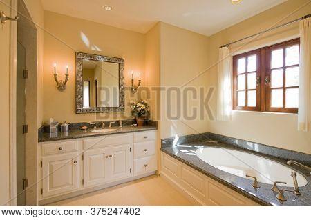Luxurious bathroom interior of mansion