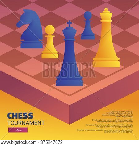 Chess Tournament Web Banner Template. Chessboard With Blue And Yellow Chess Pieces. Chess Classes, C