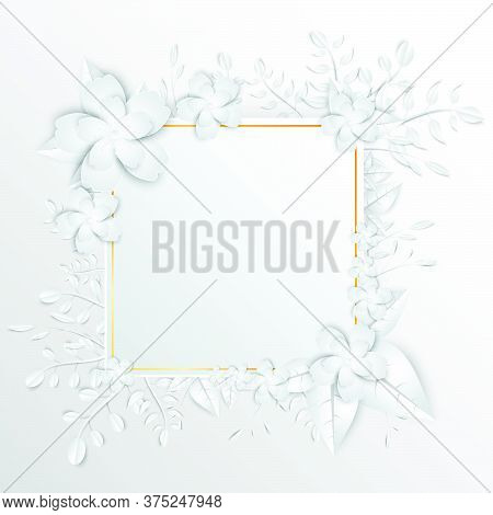 25-speech  Frame With White Cut Out Paper Flowers