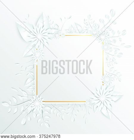 30-speech  Frame With White Cut Out Paper Flowers