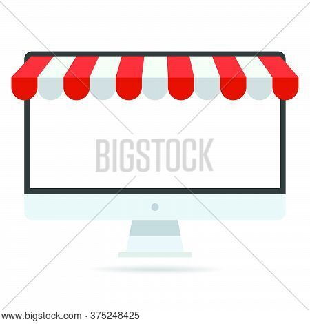 Mobile Phone Represent Of Front Of Shop Store.shopping Online On Website Or Mobile Application Conce