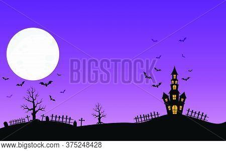 05-haunted House And Full Moon With Ghost,horror Night Background.vector Illustration.