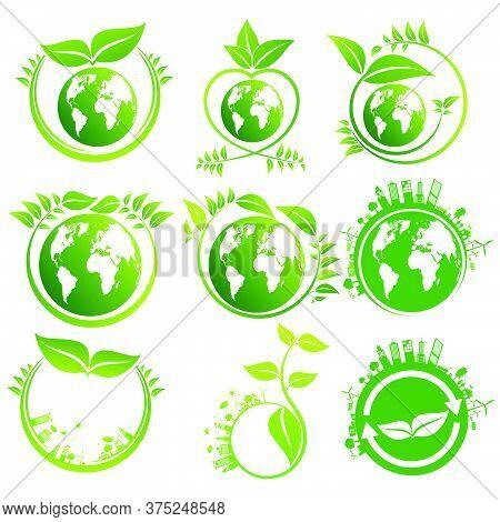 Ecology Concept. Save World Set Green Earth,environment