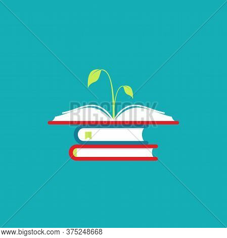 Open Book With Stack And Green Sprig Or Sprout. Flat Icon Isolated On Blue Background.