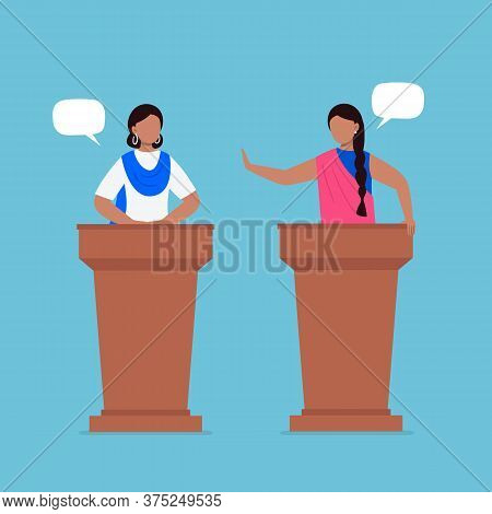 Indian Women Taking Part In Debates. Pair Of Government Workers Talking To Each Other, Discussing Pr