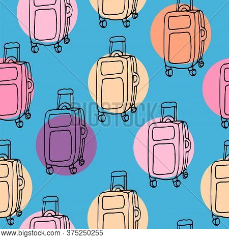 Vector Seamless Pattern With Travel Suitcases On Blue Background With Bright Color Circles. Doodle I