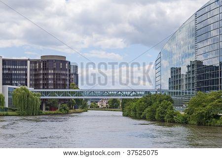 Strasbourg modern buildings, waterfront