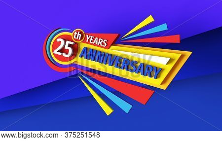 25th Anniversary - 3d Rendering Banner Logo Design. Twenty Five Years Birthday Badge Emblem. Congrat