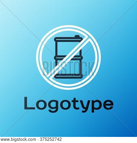 Line No Barrel For Gasoline Icon Isolated On Blue Background. Diesel Gas Icon. Colorful Outline Conc