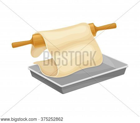 Baking Process With Rolling Pin Putting Thin Dough On Cookie Sheet Vector Illustration
