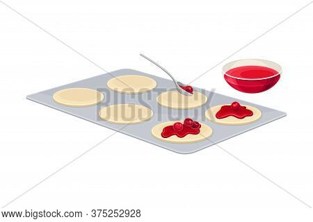 Baking Process With Putting Filling On Rolled Dough Vector Illustration