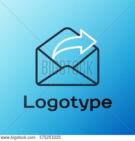 Line Outgoing Mail Icon Isolated On Blue Background. Envelope Symbol. Outgoing Message Sign. Mail Na