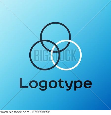Line Rgb And Cmyk Color Mixing Icon Isolated On Blue Background. Colorful Outline Concept. Vector Il