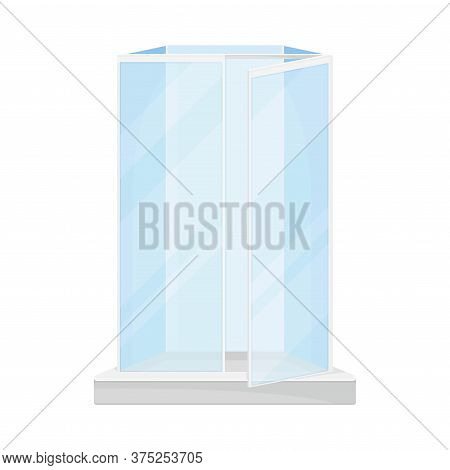 Stall Shower Or Shower Unit With Door To Contain Water Spray Vector Illustration