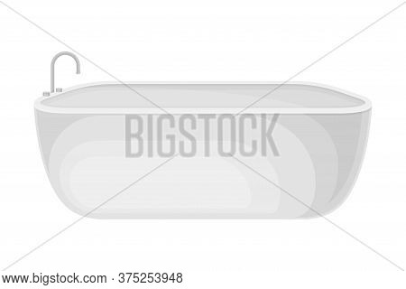 Bathtub With Tap As Home Amenity Isolated On White Background Vector Illustration