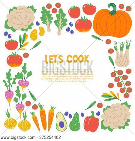 Healthy Food Flat Set. Scandinavian Illustration Of Vegetables. Cooking Courses Poster With Text Spa