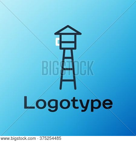 Line Watch Tower Icon Isolated On Blue Background. Prison Tower, Checkpoint, Protection Territory, S