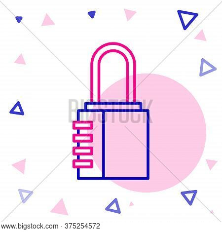 Line Safe Combination Lock Icon Isolated On White Background. Combination Padlock. Security, Safety,
